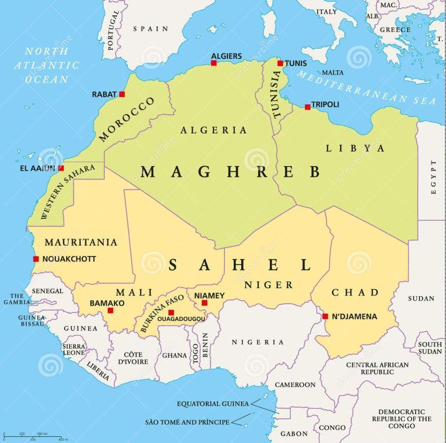 Image result for sahel, africa, map