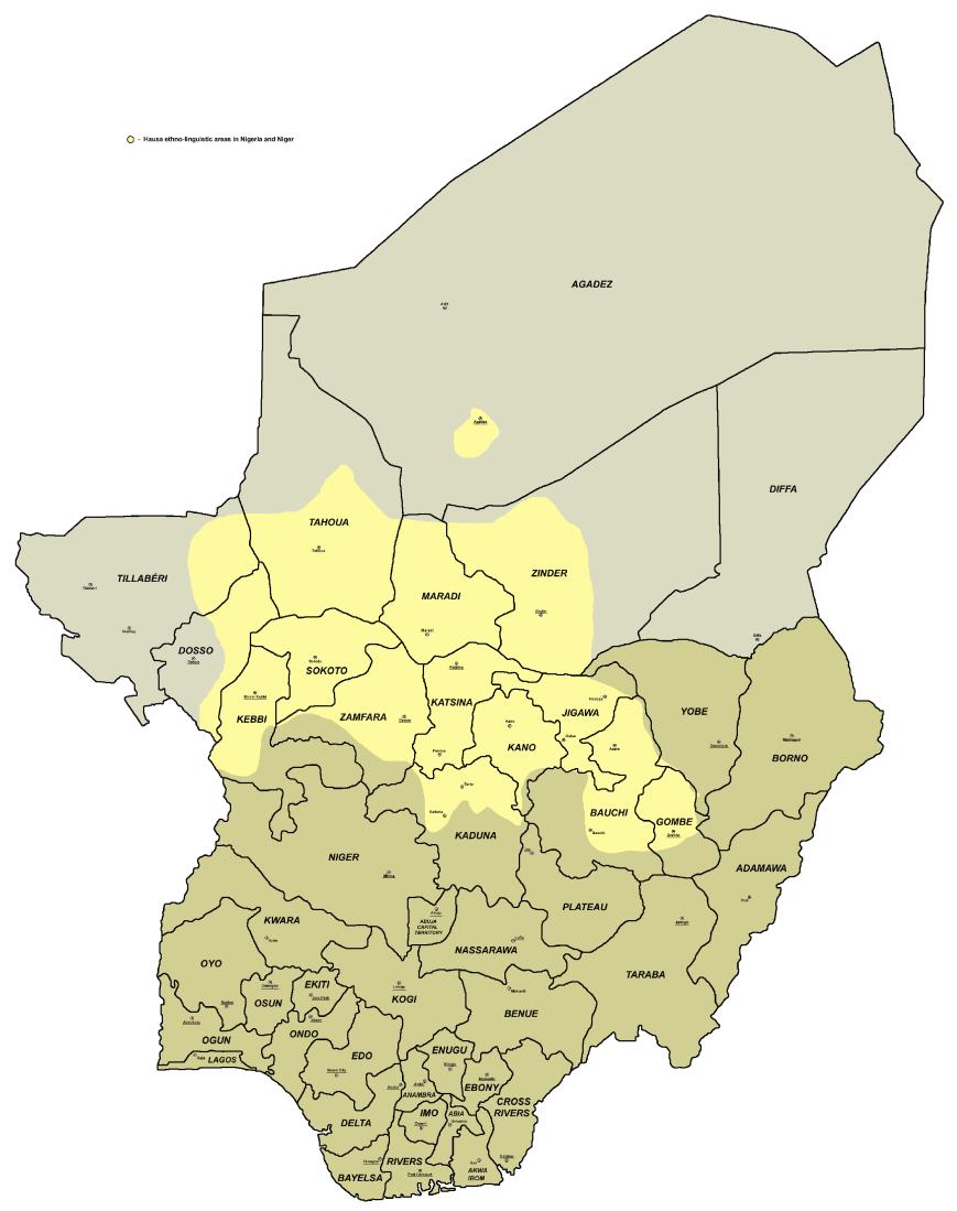 Niger - Hausa_language_map