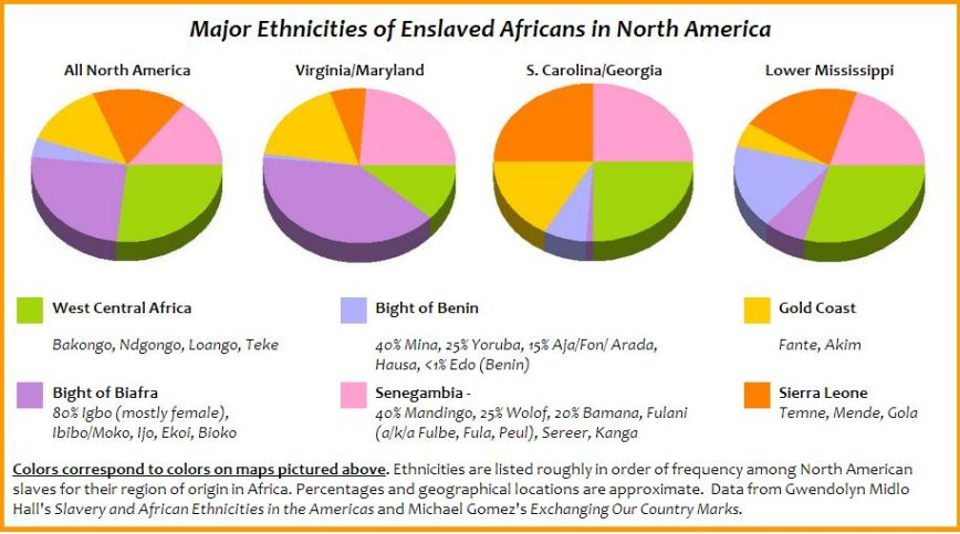 Major Ethnicities of Enslaved Africans in North America