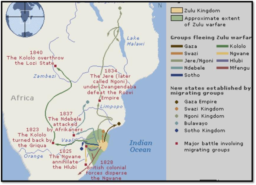 Mfecane migration routes